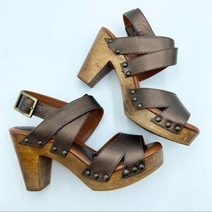 Johnston & Murphy Metallic Bronze Platform Heels